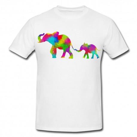 camiseta multicolor elefante